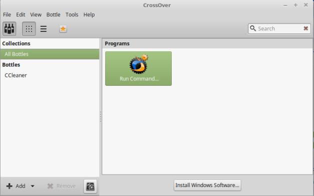 Tampilan awal dari aplikasi CrossOver 17